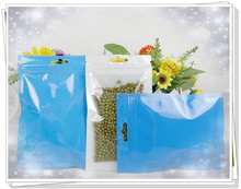 Customized colour pearl film ziplock bag with hanging hole/BOPP film plastic pouch with front clear zipper