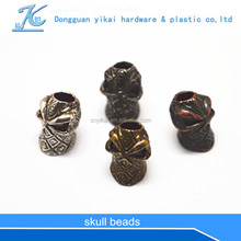 Paracord lanyard skull beads,electric galvanized skull beads