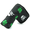 black Putter Cover Headcover Golf Head Covers for Blade Club PU Leather, custom made, Clover + skull Mark
