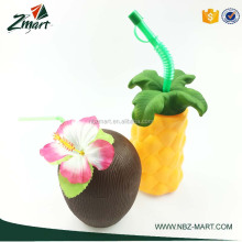 500ml ZMART Best selling Popular Plastic Coconut Cup With Flower and Drinking Straw