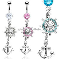 316L Surgical Steel Anchor Dangle Navel Ring Piercing Jewelry