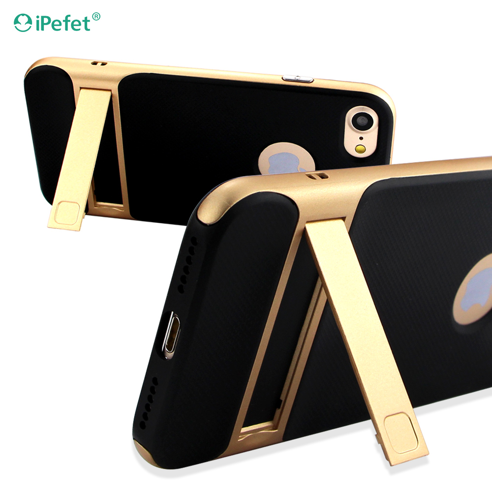 TPU PC combo Hard mobile phone cover with metal stand case for Apple iPhone 7