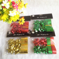 Good quality Christmas gift decoration flat mini star bow & ribbon