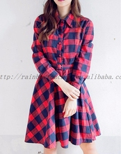 Warehouse china promotional red check dress for girl