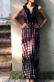 V neck pleated dress, tie dye long dress/skirt,