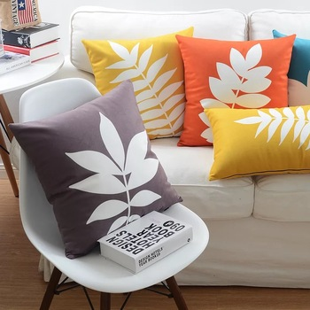SHC034 New Design Leaf Pattern Plush Fabric Printed Decor Cushion Pillow Cover