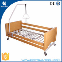 BT-AE027 China factory sale 5-function wooden home care bed, wrought iron hospital bed, zhangjiagang hospital bed