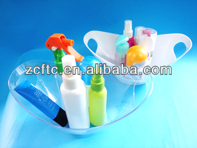 Blue plastic bath products container, Mini bathtub with two holders