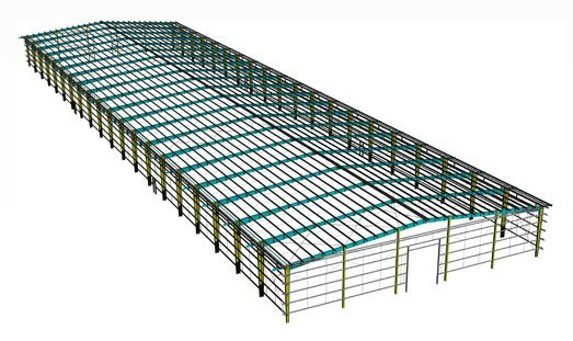 Prefabricated metal steel structure shed/godown design in shan dong china
