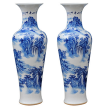 Chinese blue and white landscape painting Ceramic Large Porcelain Floor Vases