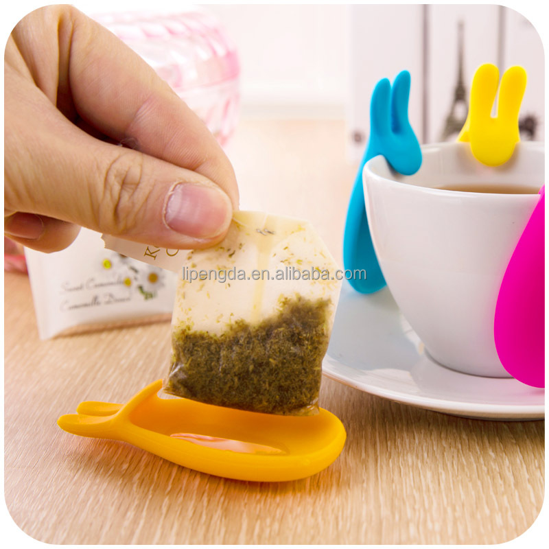 Hot Selling Colorful Silicone Rabbit Style Tea Bag Holder Resting