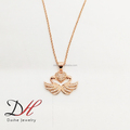 Valentine's Gift Fashion Latest Design Rose Gold Heart Wings Charm Necklace