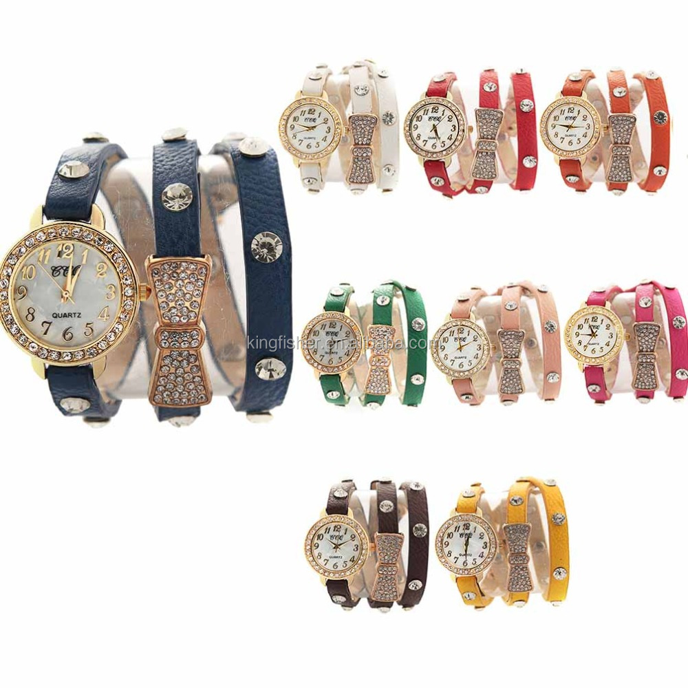 Fashion leather crystal bow rhinestone watch, 3 wraps leather women western quartz watch.