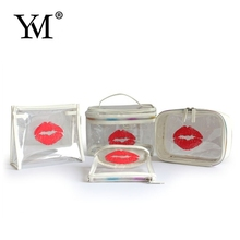 2015 brand name bulk popular PVC clear cosmetic bag with lip shape