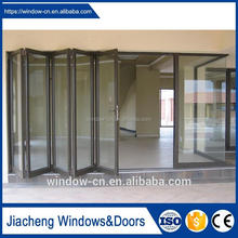 House office use Aluminium folding door simple style pvc frame double tempered glass water proof fire proof classic folding door