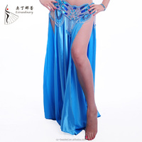 Q00153 all matching sexy side slit belly dance satin skirt