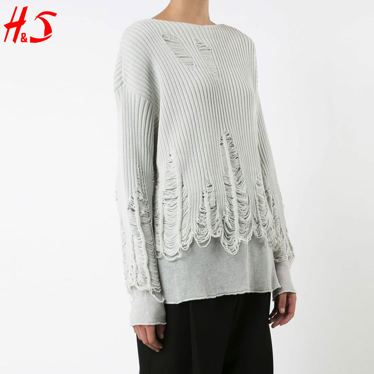 Dongguan OEM Product Pullover Long Sleeves Peeling Woman Knitted Sweater with Asymmetrical Hem