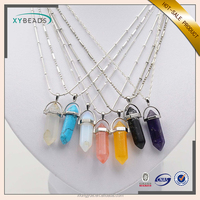 2017 New Fashion Gemstone Pendant Jewelry Silver Chain Natural Stone Pendant Necklace