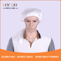 Women Men Wigs White Barrister Lawyer Fancy Dress party wig synthetic Unisex male man's hair cosplay wigs