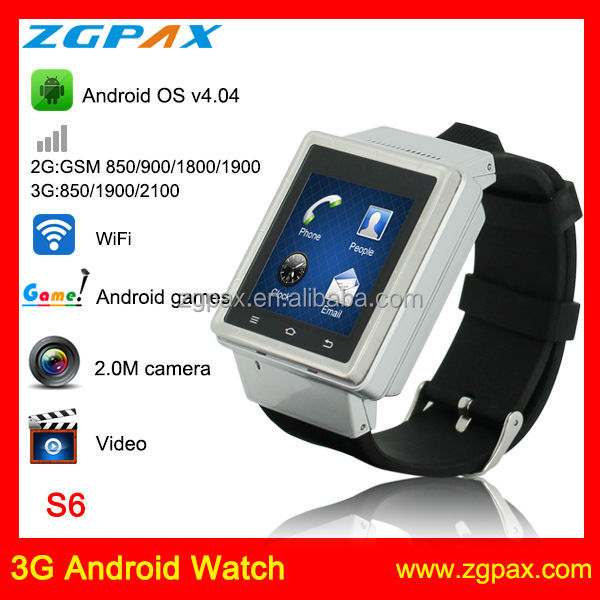 NO.1! smart watch with 3g sim card ,bluetooth watch shenzhen factory S6 ZGPAX