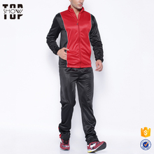 Hot selling product mens black and red plain tracksuit with your own design