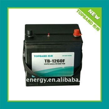 Smart 12V car battery with lithium iron phosphate battery cell