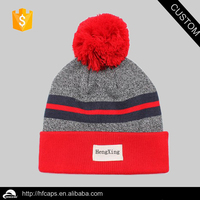 100% Acrylic Skiing Jacquard Woven Label Knitted Hat/Winter skiing Knitted Hat with Pom Pom