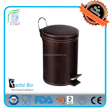 classic PU leather cover decorative S/S garbage bin for bedroom