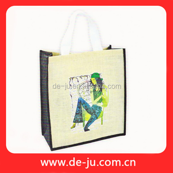 Beautiful girl printing square cheap used jute bags