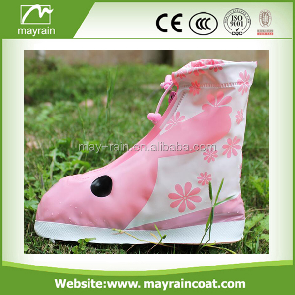 2017 Manufacturer snow waterproof kids plastic anti-slip cute printed shoe cover