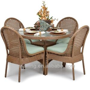 All Weather Garden Wicker White Outdoor Aluminum Restaurant Chair French Rattan Dining Set