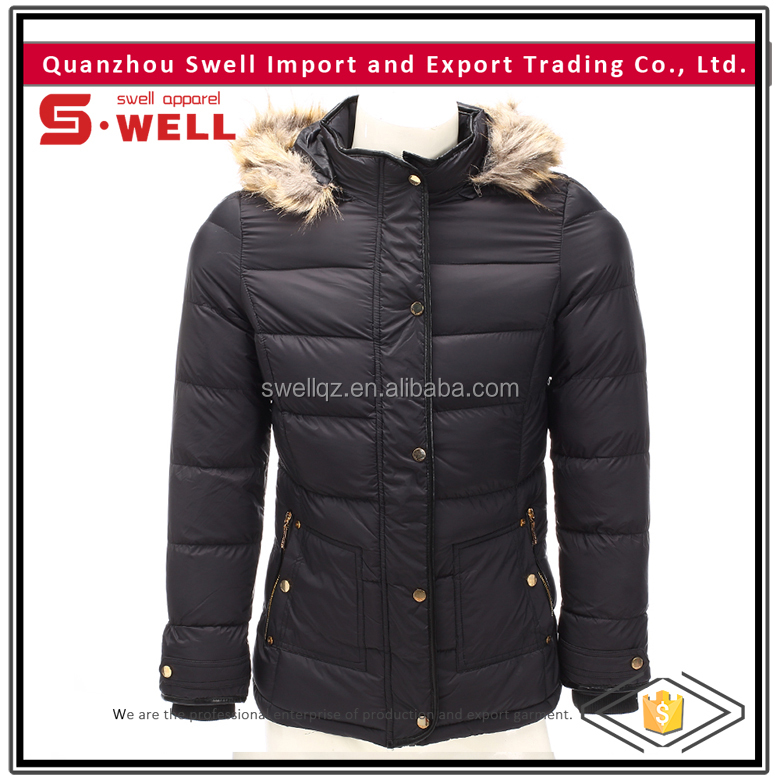 Discount price wholesale custom ladies black quilted jacket