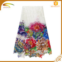 Shidao Nigerian Milky Tropical Rose Flower Printing Fabric Lace For Women
