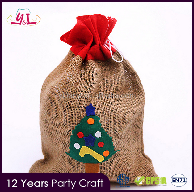 2016 Jute Material Furla Candy Bag For Christmas Decorative