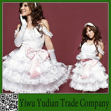 Lolita Pink Bow Princess Cake Dress White Bridal Dress