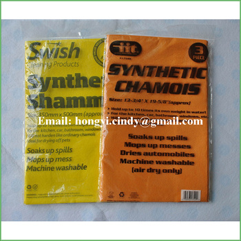 Synthetic chamois orange super absorbent cleaning cloth