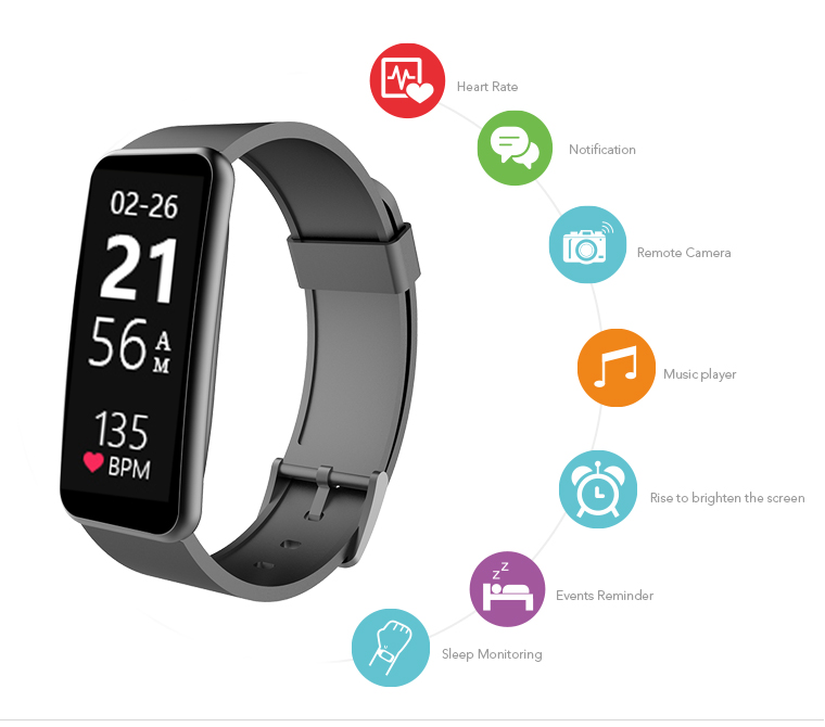 2017 APPSCOMM Smart Watch Touch Screen Bluetooth Heart Rate Monitor with Phone Call Reminder for Android and IOS
