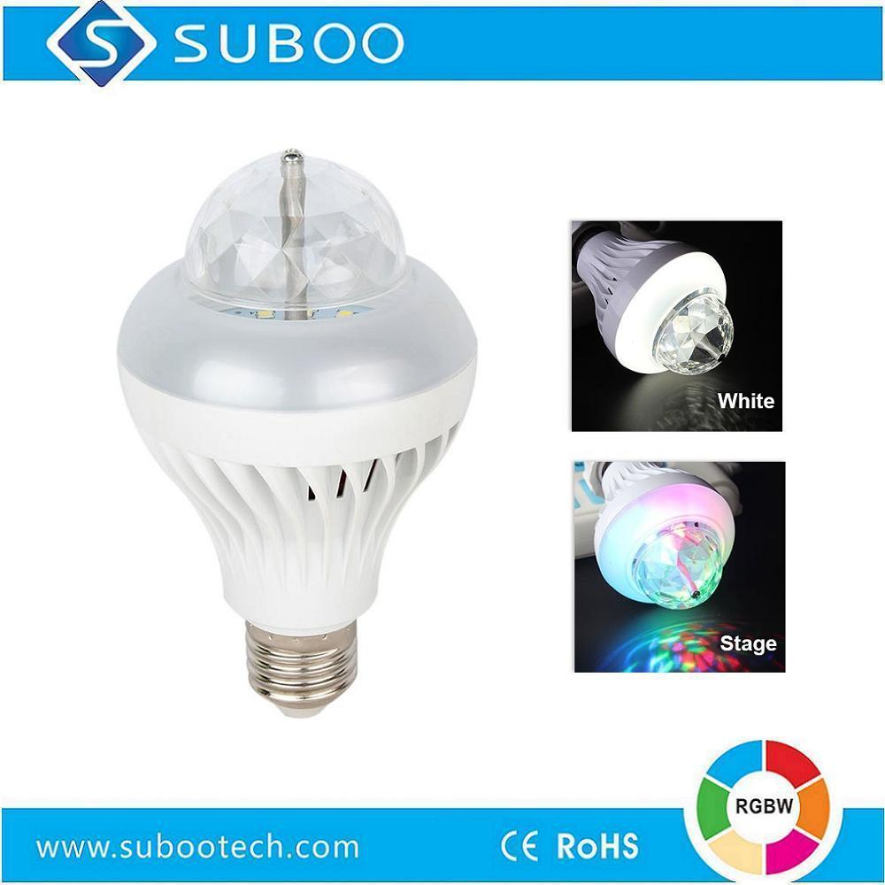 RGBW Full color Auto Rotating LED Bulb Lamp B22/E26/E27 Base Type for Christmas gift/Disco/Stage/Party/Home/KTV/Bar etc