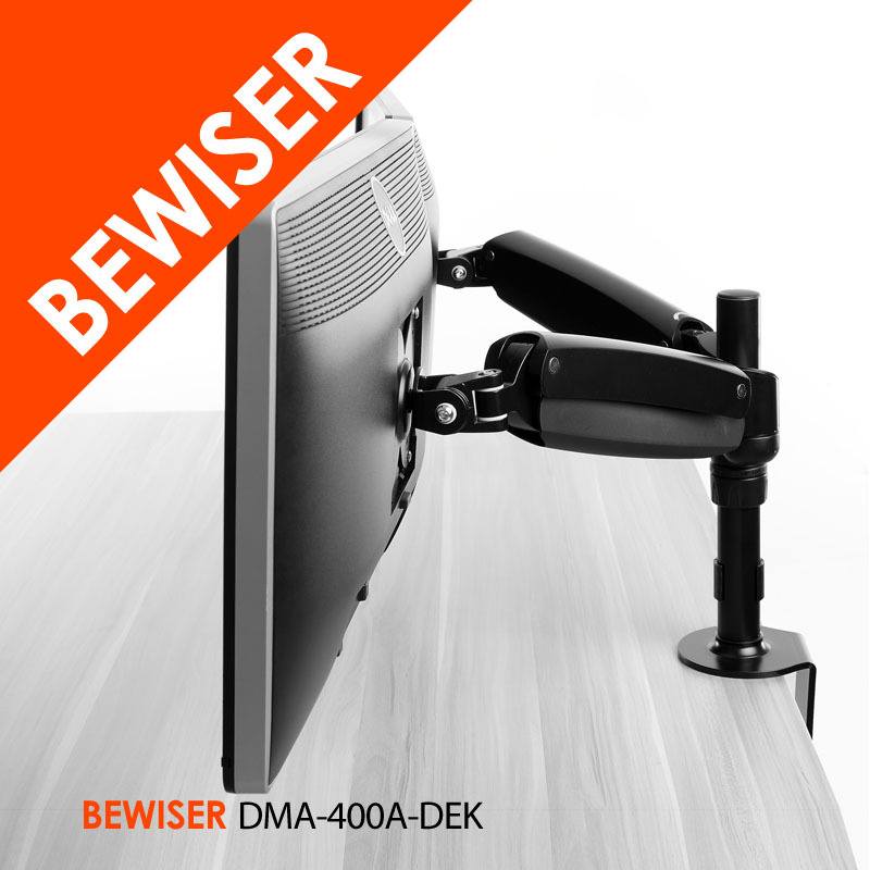 "articulating dual folding lcd monitor arm stand holds up to 30"" widescreen displays (BEWISER DMA-400A-DEK)"