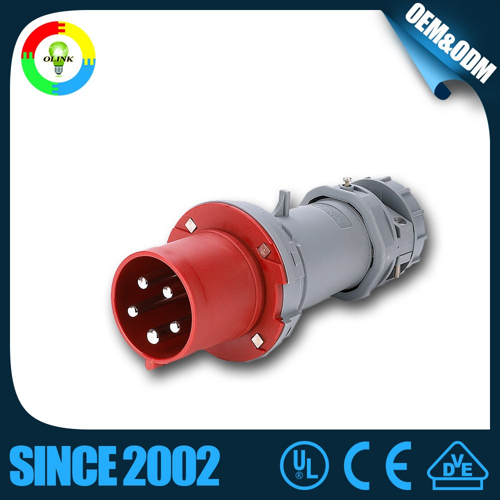 2016 hotselling industrial plug with CE Certification 16A 32A 63A 125A 250A 420A 380V 5A waterproof industrial plug and socket