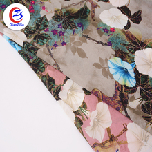 2018 polyester tropical flower clipping chiffon fabric digital printing fabric for garment/dress
