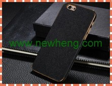 Deluxe Leather+Metal Electro plating Hard Cross lines Case For Iphone6
