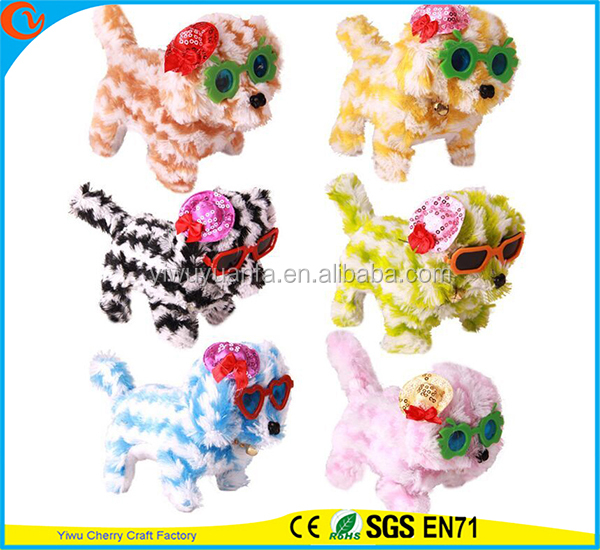Hot Item Charming Design High Quality Colorful Plush stripe Puppies Electric Doll Toy