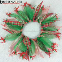 Christmas Serious Green Tulle Party Dog Collar with Elk