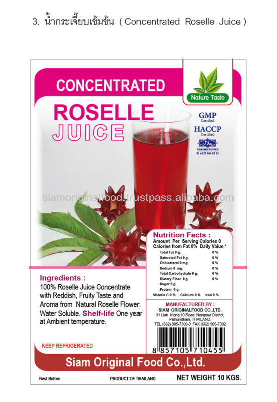 CONCENTRATE ROSELLE FRUIT JUICE FROM THAILAND