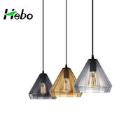 Art glass material pendant lamp,smoky grey glass pendant light