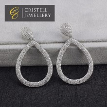Cubic zirconia pave chandelier wedding dangle earrings for woman in brass or 925 sterling silver