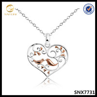 925 silver pink gold bird necklace with tree heart women fashion jewelry