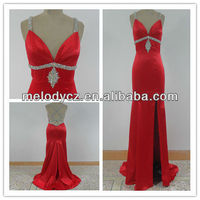 Banquet used red satin customized summer ladies simple fashion dress