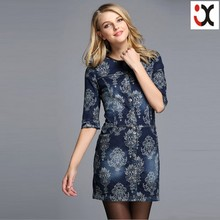 2015 ladies Europe brand fashion printing three quarter sleeve jeans women dress JXQ057